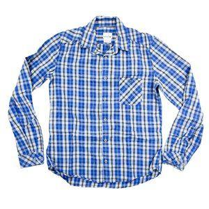Lacoste Button Shirt Men 40 Blue Plaid Long Sleeve